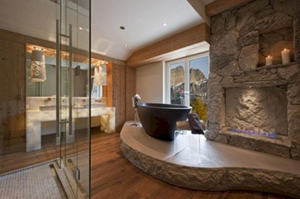 Astonishing and cozy bathrooms design ideas with fireplace 02