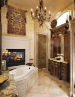 Astonishing and cozy bathrooms design ideas with fireplace 05
