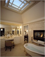 Astonishing and cozy bathrooms design ideas with fireplace 14
