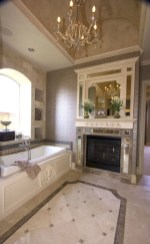 Astonishing and cozy bathrooms design ideas with fireplace 22