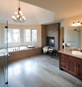 Astonishing and cozy bathrooms design ideas with fireplace 25