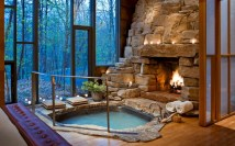 Astonishing and cozy bathrooms design ideas with fireplace 32