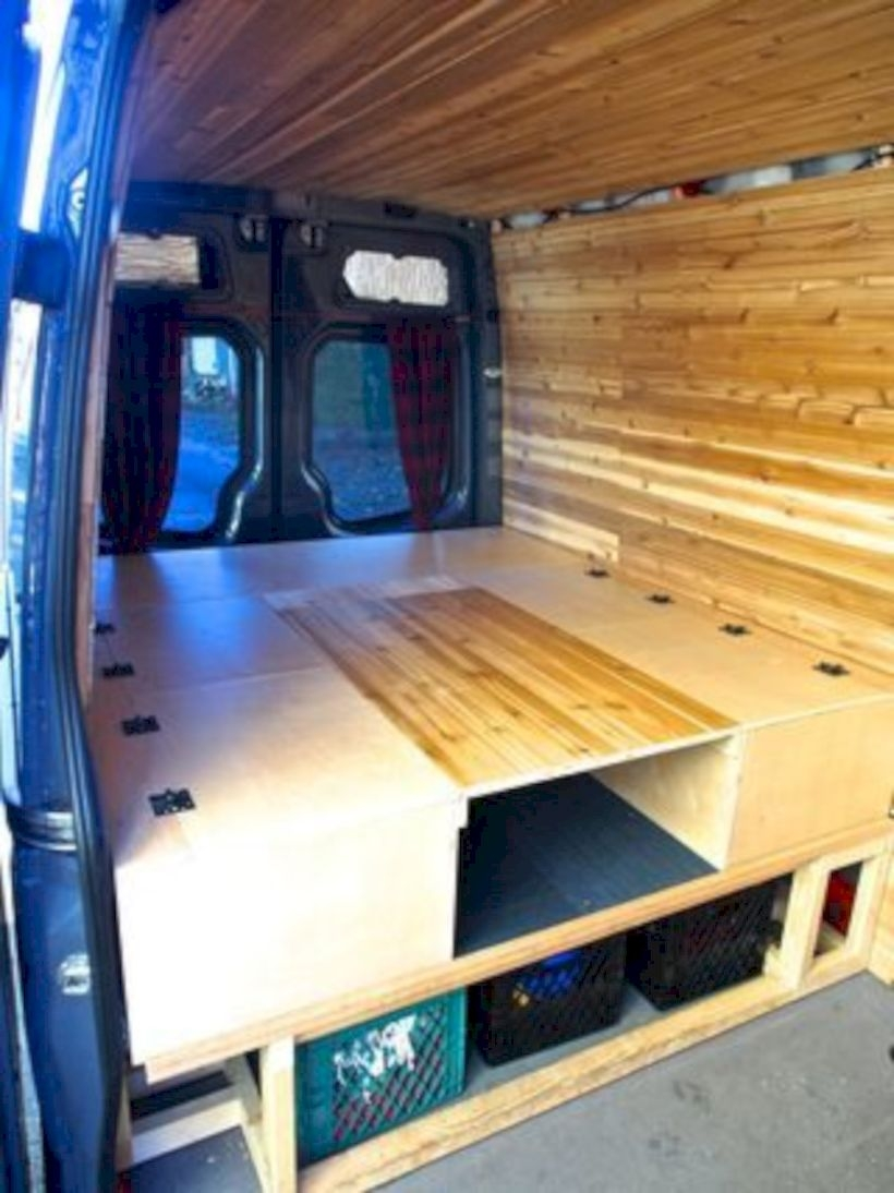 Bed, table, and benches for camper van