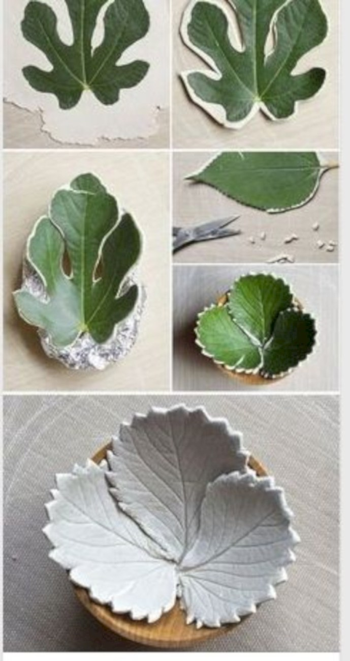 Creative diy dishes made from clay leaves 18
