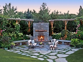 Diy outdoor fireplace and firepit ideas 16
