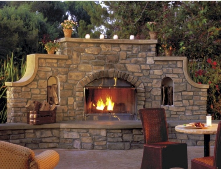 Diy outdoor fireplace and firepit ideas 35