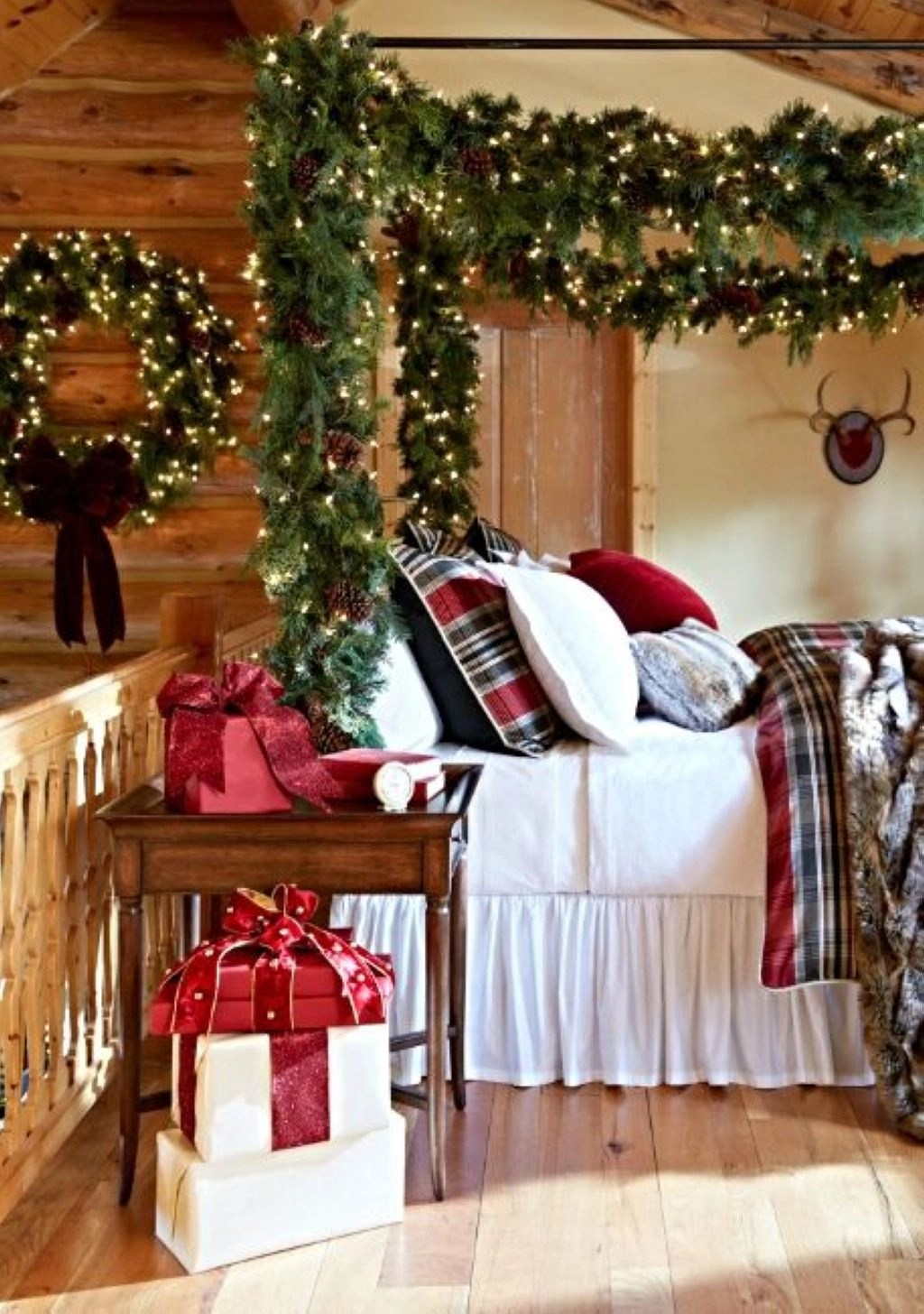 Diy bed in house has christmas bedding at the holiday