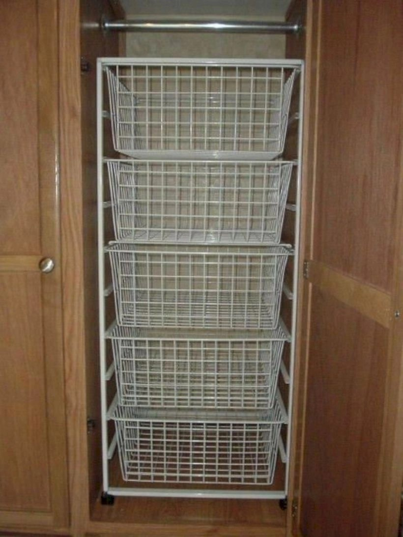 Rv closet shelves and wire baskets