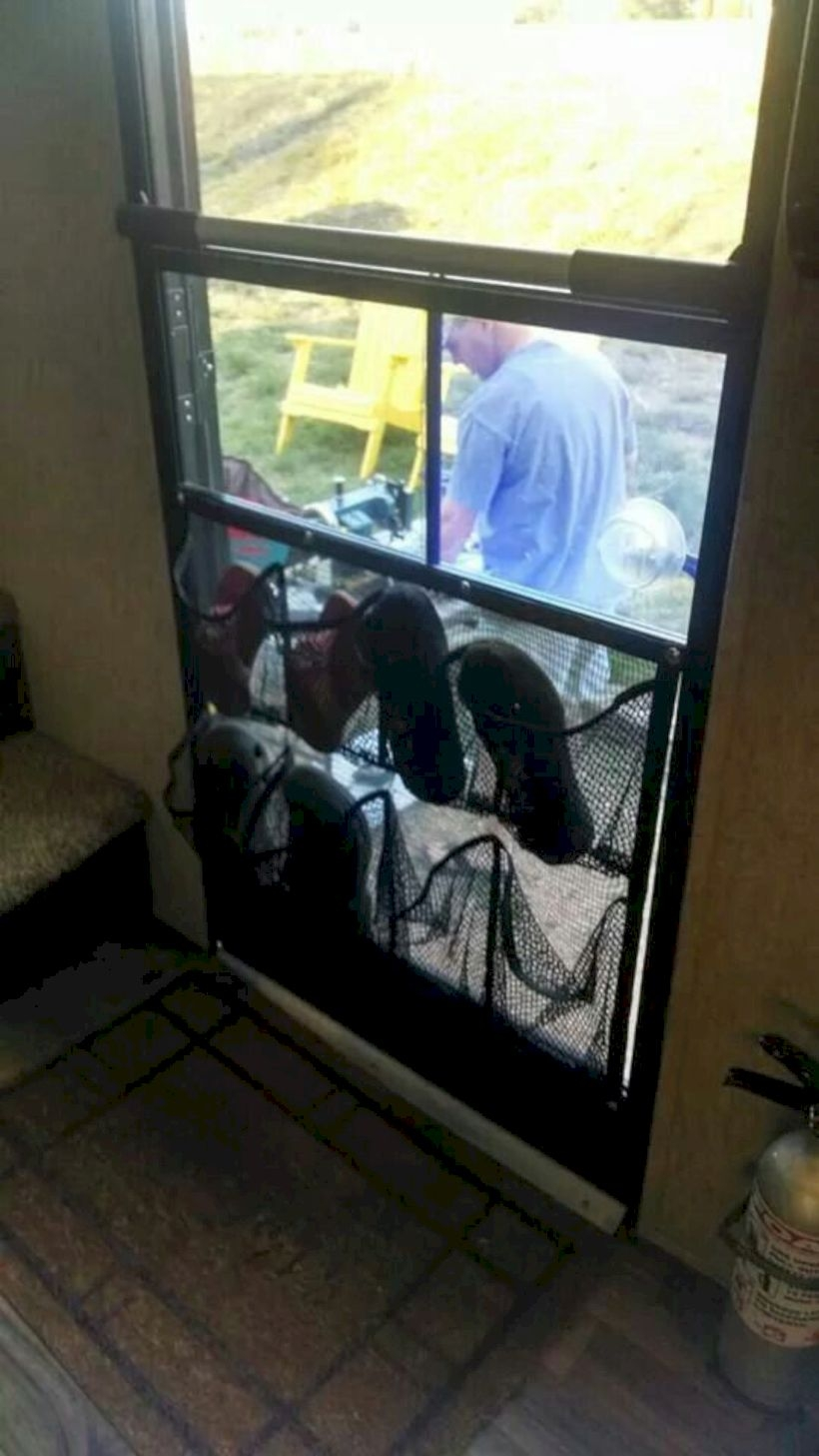 Shoe storage on rv screen door