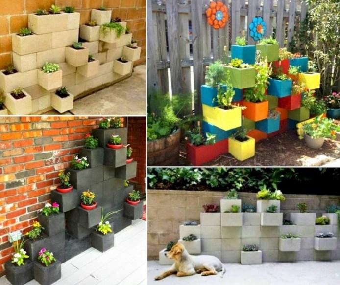 Ways to decorate your garden using cinder blocks 14