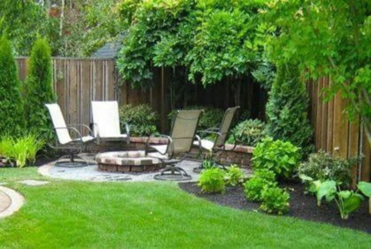 Backyard and landscaping ideas with garden and rest area
