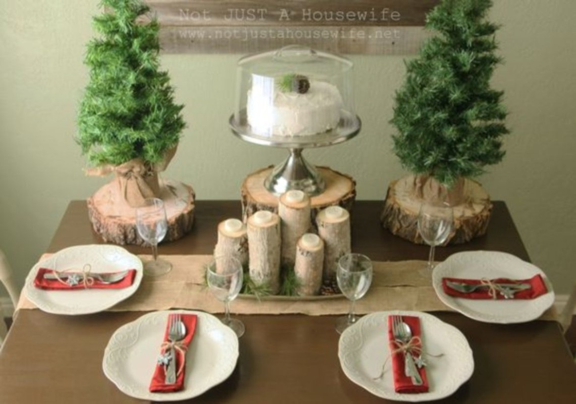 Christmas tablescape ideas with love the tree stumps