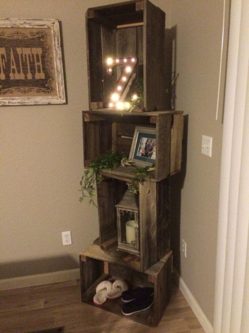 Diy rustic crate shelf unit