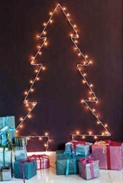 Diy wall christmas tree to save your space 18