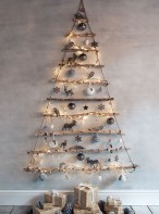 Diy wall christmas tree to save your space 37
