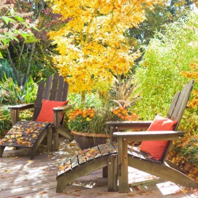 Fall landscaping ideas with seats comfortable