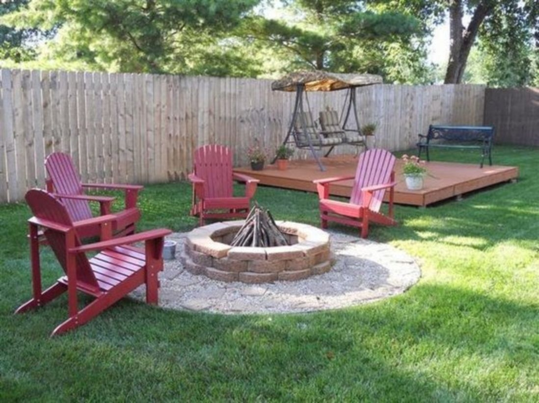 Fresh backyard landscaping ideas with with stone fire pit