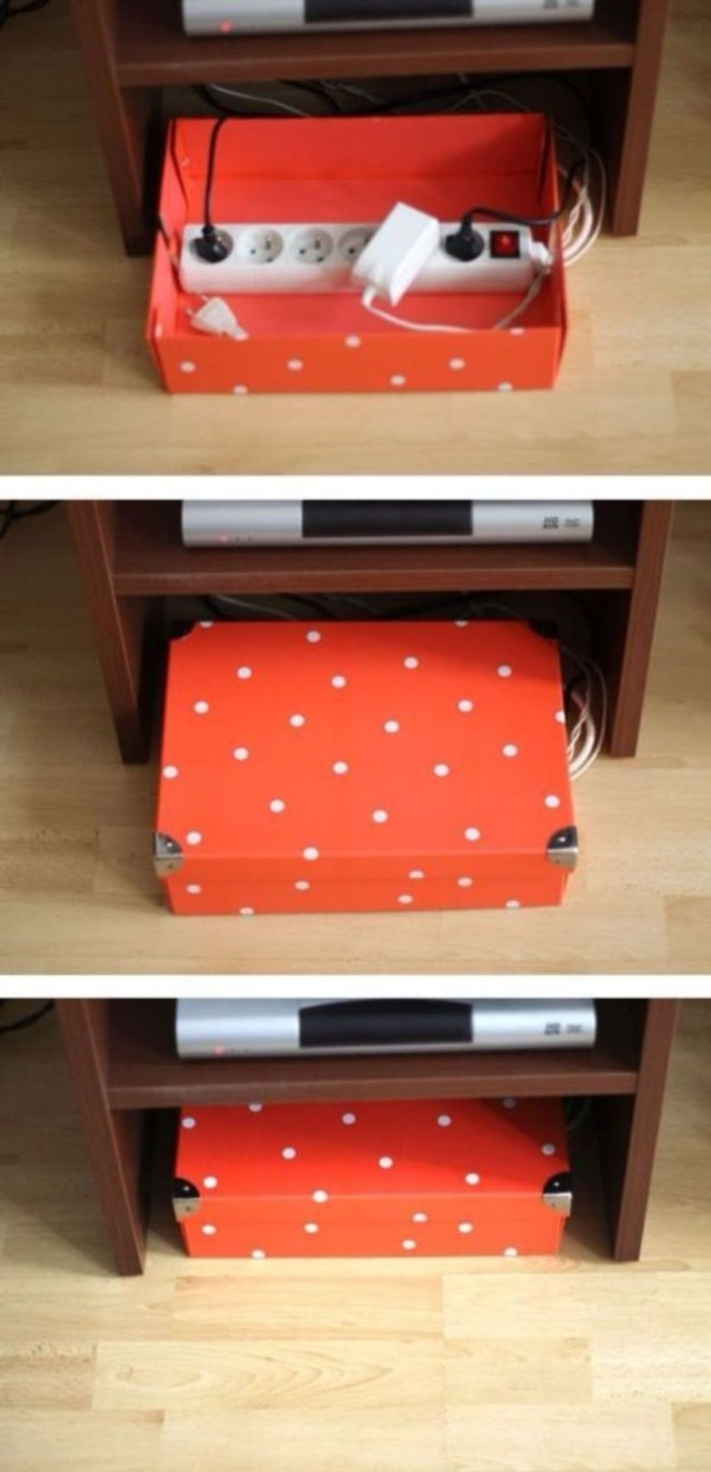 Hide ugly power strip electrical outlet cords in a pretty decorative box
