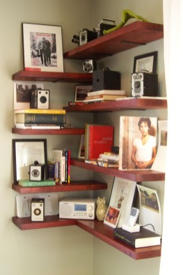 Ideas to decorate your corner space with unique corner shelf 29
