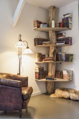Ideas to decorate your corner space with unique corner shelf 30