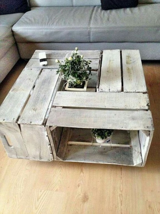 Simple coffee table with wood pallet