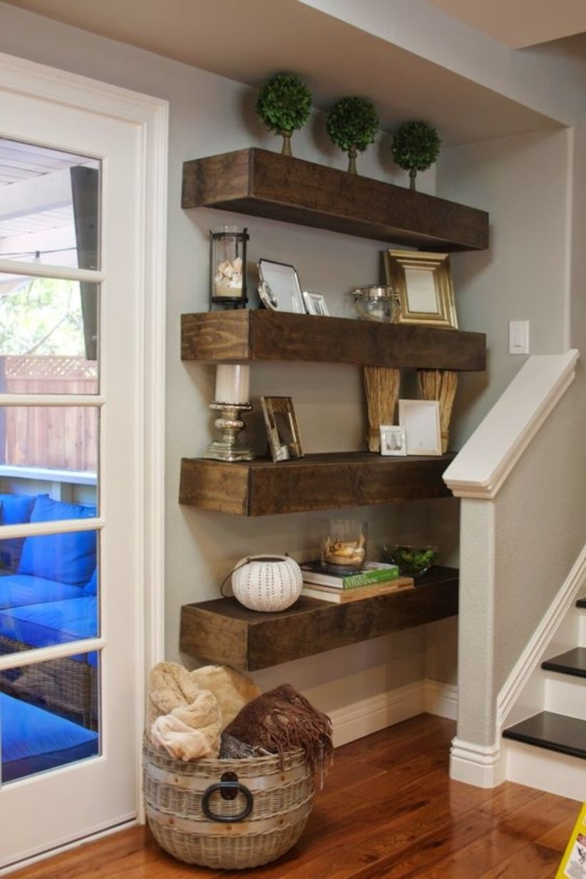 Simple diy floating shelves decor ideas in apartment