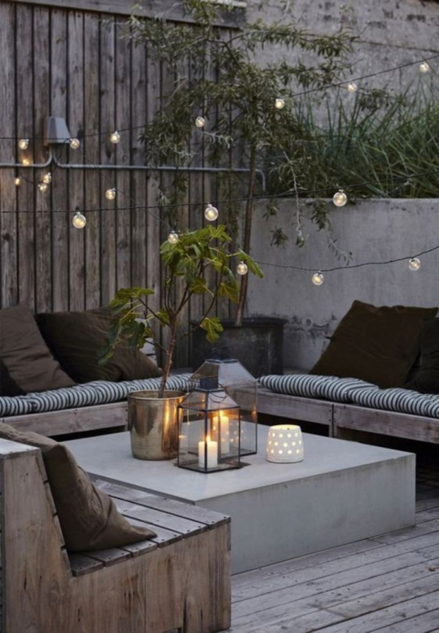 Small backyard landscape designs with lounge chairs