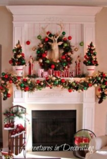Ways to decorate fireplace for christmas 06