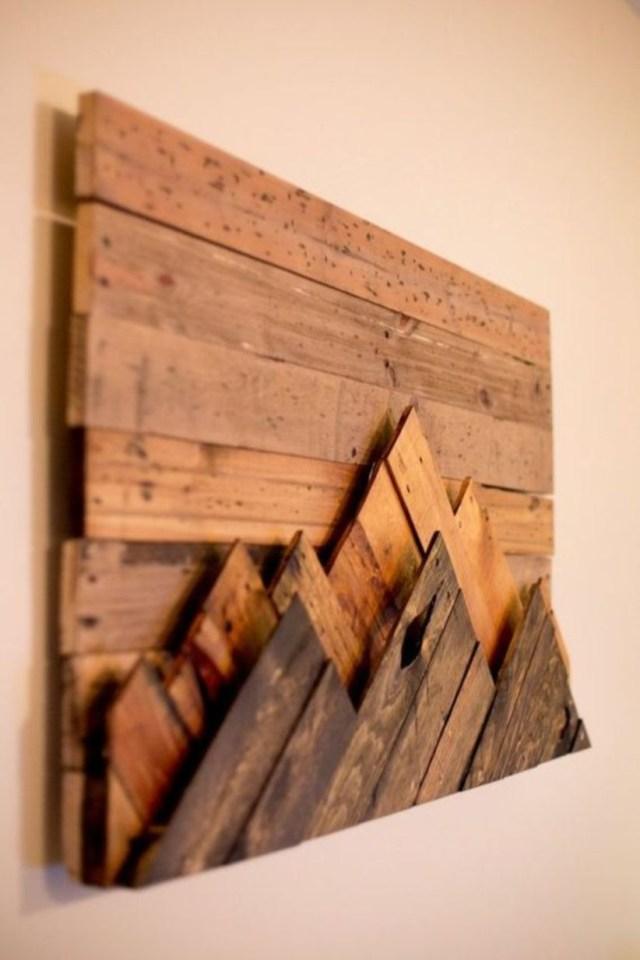 Wood mountain range wall hanging