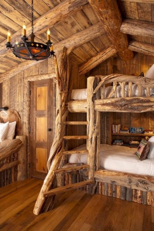 Creative log cabin themed bedroom for kids 17