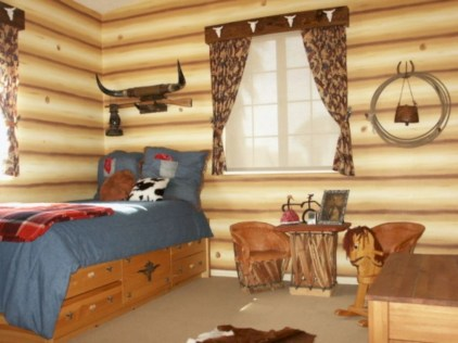 Creative log cabin themed bedroom for kids 26