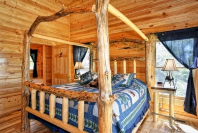 Creative log cabin themed bedroom for kids 27