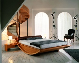 Vintage attic bedroom with wall of skylights09