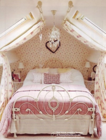 Vintage attic bedroom with wall of skylights10