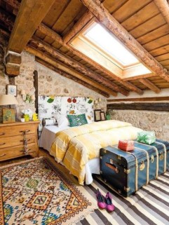Vintage attic bedroom with wall of skylights29