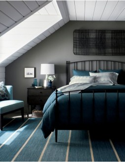 Vintage attic bedroom with wall of skylights30
