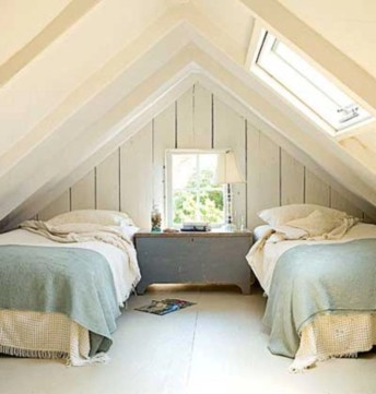 Vintage attic bedroom with wall of skylights48