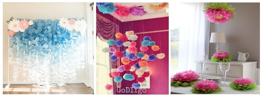 32 simple and easy diy tissue paper flower garland godiygo 32 simple and easy diy tissue paper flower garland mightylinksfo