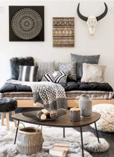 Boho rustic glam living room design ideas 14