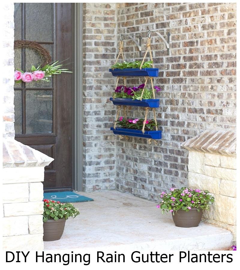 DIY Hanging Rain Gutter Planters