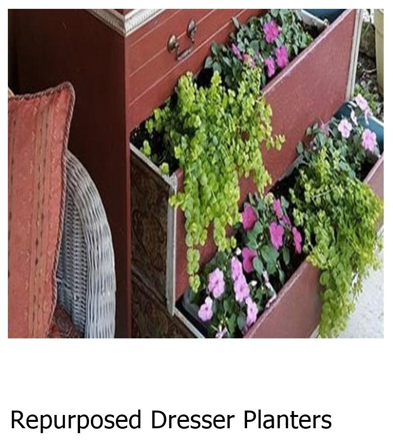 Repurposed Dresser Planters