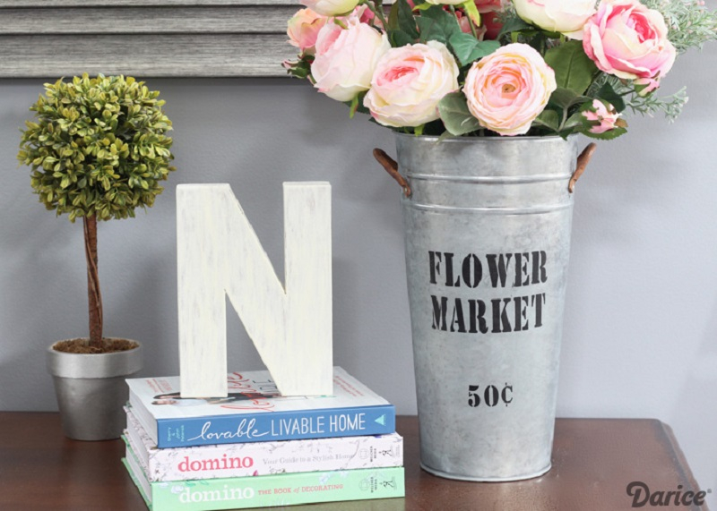 Vintage inspired flower market bucket