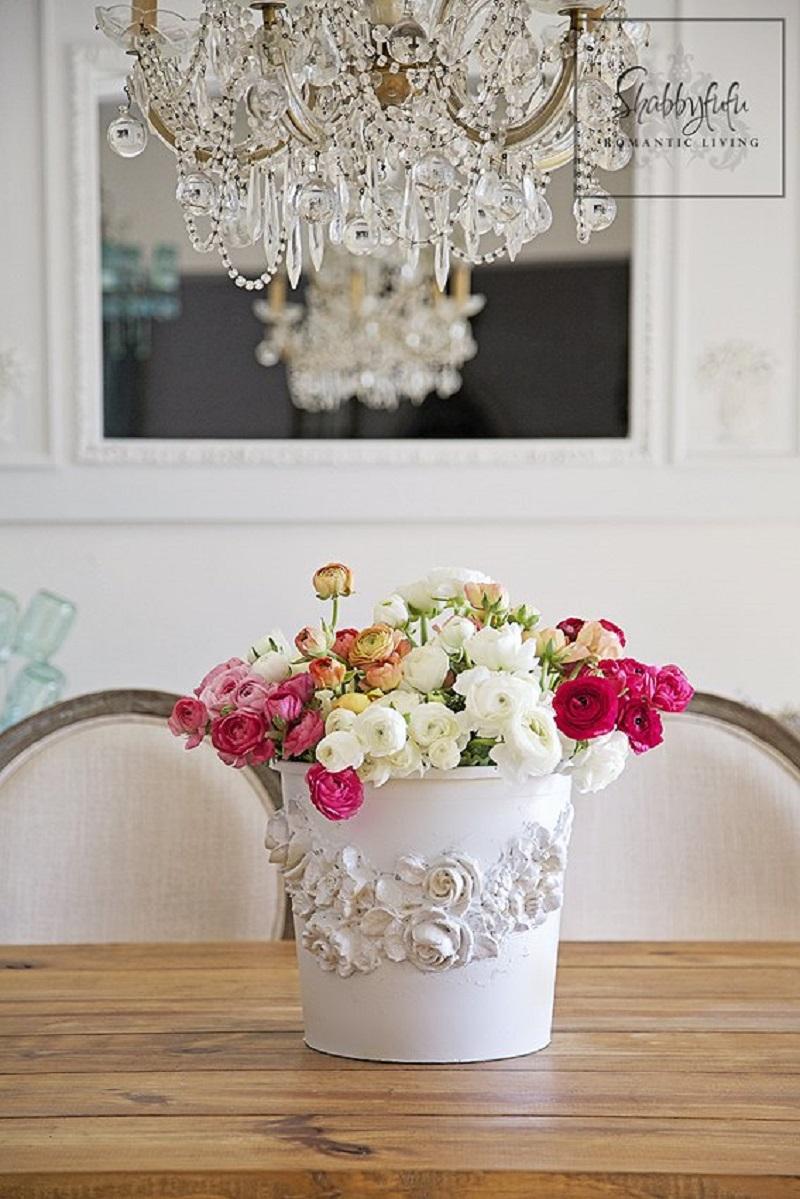 Romantic diy flower bucket market