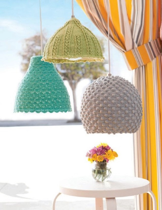 Crochet seashell pendant lights