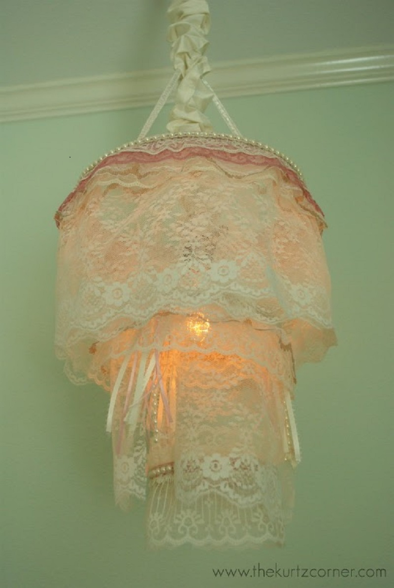 Diy romantic shabby chic lace chandelier