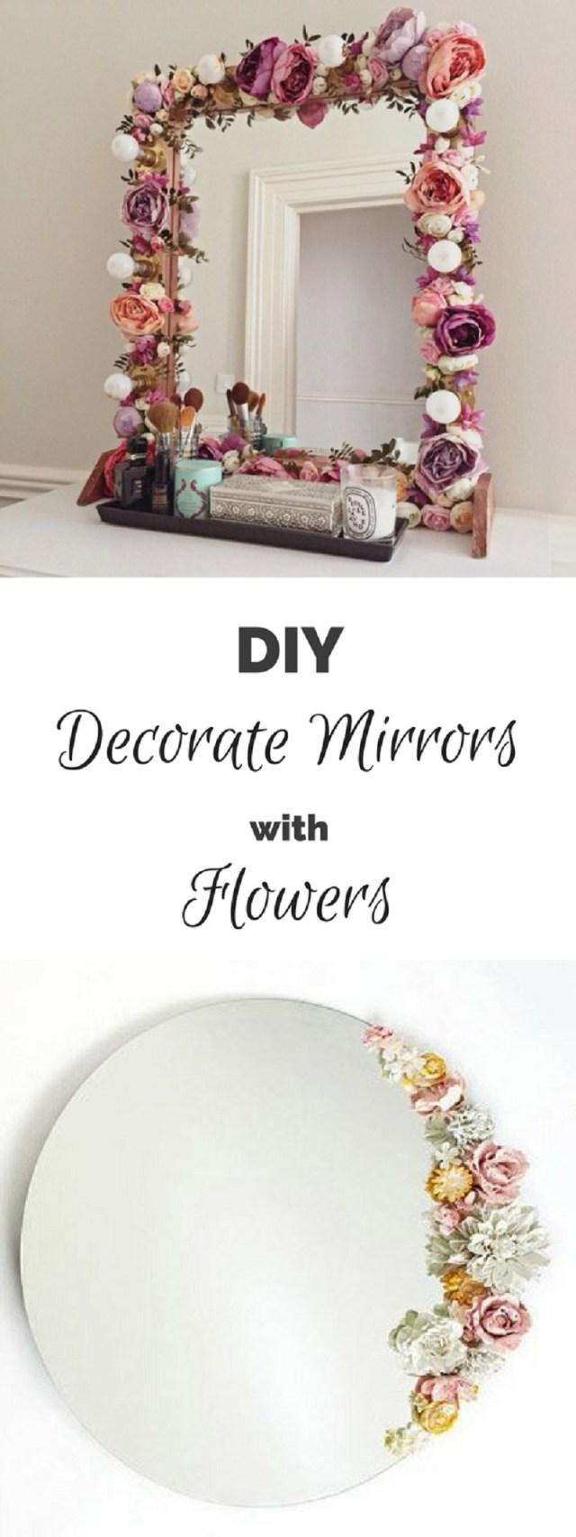 Flower decorated mirror