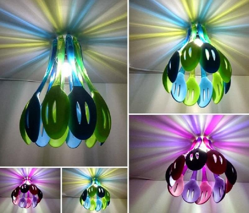 Kitchen utensils into beautiful chandelier