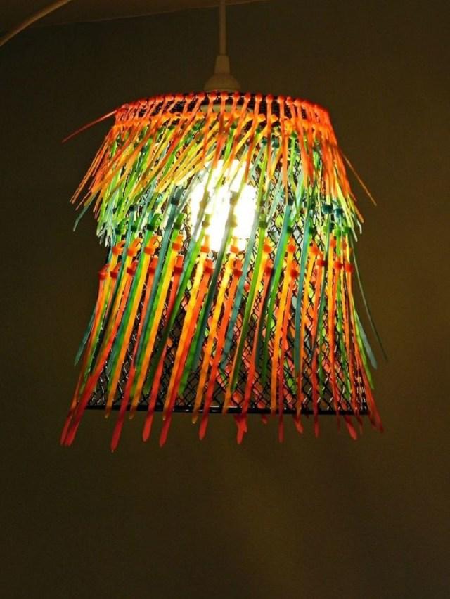 Ombre neon zip-tie pendant lamp