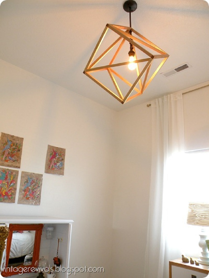 Openwork cube pendant light
