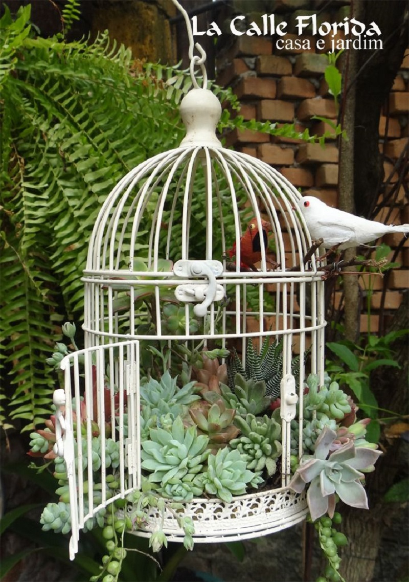 Simple white birdcage
